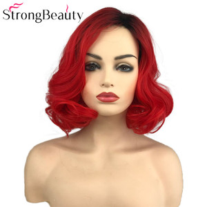 Image 1 - StrongBeauty Short Red Wigs Body Wave Synthetic Wig Women Lady Heat Resistant Hair