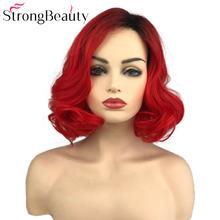 Strongbeauty короткие красные парики тела волнистый синтетический