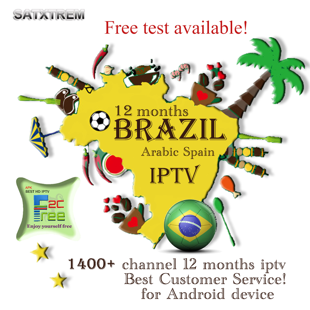 IPTV 1400+ stable Channels 12 months Brazil IPTV Subscription include Arabic Brazi Spain Portugal Latin channel Android TV Box movie iptv