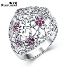 DreamCarnival 1989 New Ladies Girls Jewelry Hollow Fuchsia Flower Cubic Zirconia Rhodium Color Rings for Women Anelli WA11496(China)