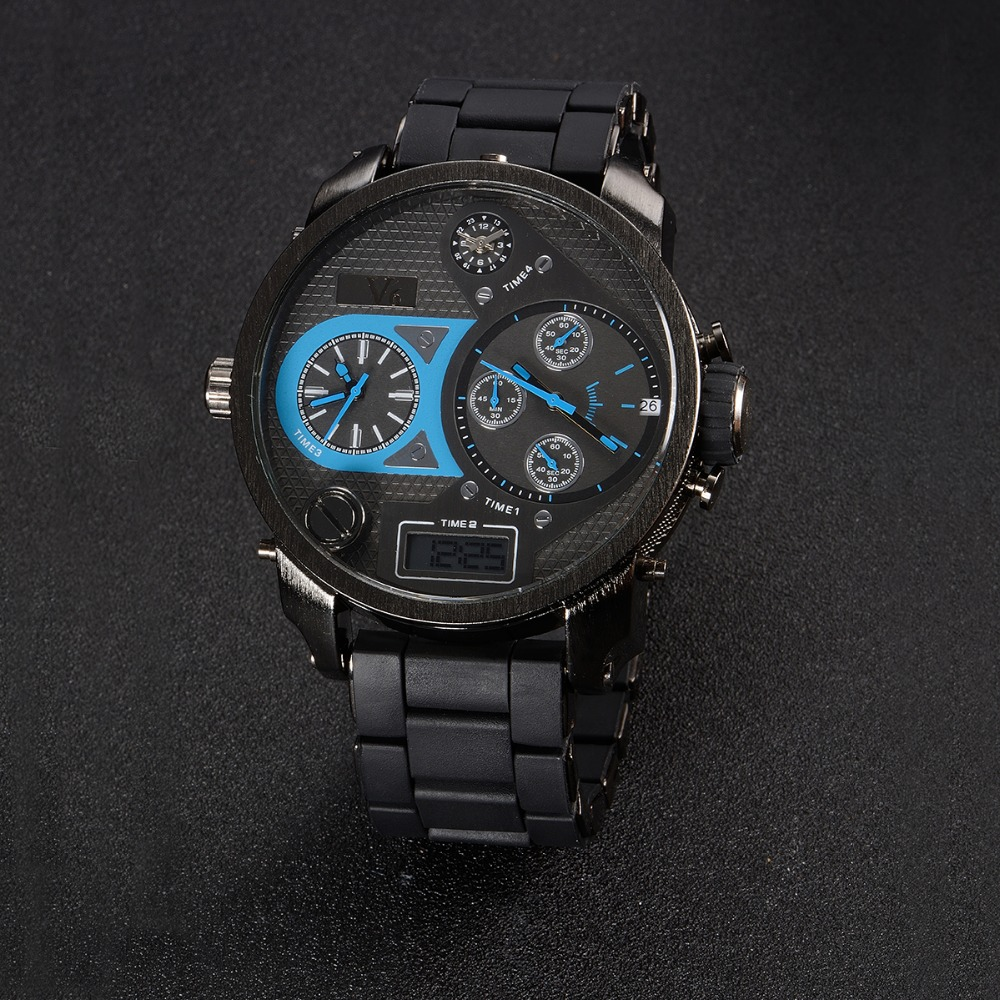 Montre-bracelet homme de luxe marque V6 homme montre numérique double écran affichage horloge numérique montres à quartz militaire reloj hombre