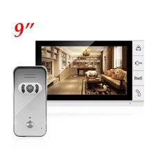 זול 9 אינץ צבע צג LCD וידאו דלת טלפון פעמון אינטרקום מערכת 940nm ראיית לילה רמקול מצלמה