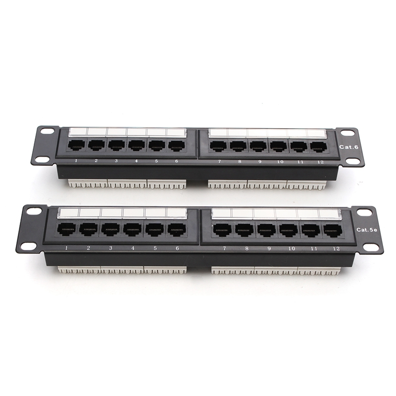 12 Port Cat6/Cat5e RJ45 Patch Panel UTP Ethernet LAN Network Adapter Rack Cable Wall Mounted Bracket Connector Rack Tool