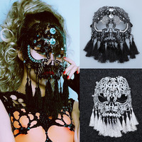 Bar Female Singers Stage Props Sexy Hollow Fringe Tiger Mask La Casa De Papel Cosplay Mascaras Disfraces Cosplay Mask Steampunk