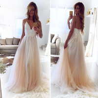 Custom Made A line Spaghetti Strap Wedding Dress with 3D flowers