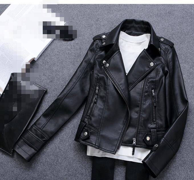 3XL 2018 PU Leather Jacket Faux Soft Leather Coat Slim Black Motorcycle  jaqueta de courro feminina 573e0d7d0a59