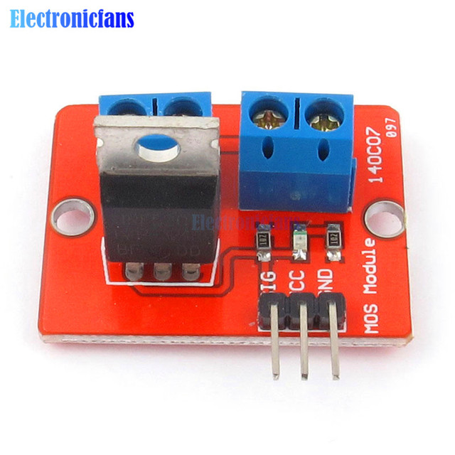 5PCS Top Mosfet Button IRF520 Mosfet Driver Module For Arduino MCU ARM Raspberry Pi 3.3v-5V IRF520 Power MOS PWM Dimming LED