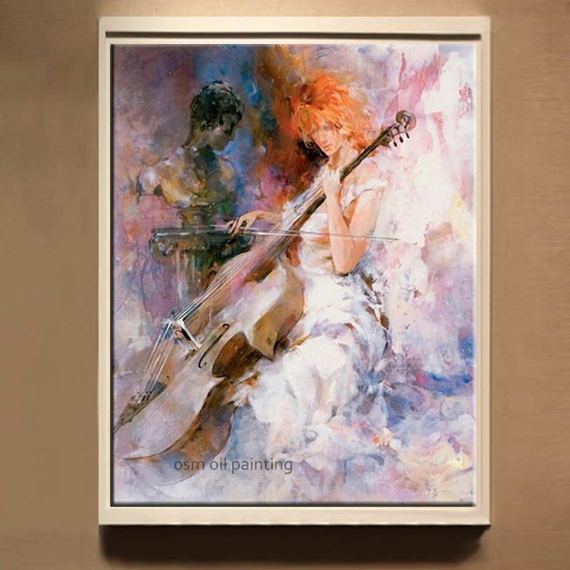 Hand painted Beautiful Sex Lady Play the Violoncello Abstract Oil Painting on Canvas Modern Pictures Hotel Wall Artwork