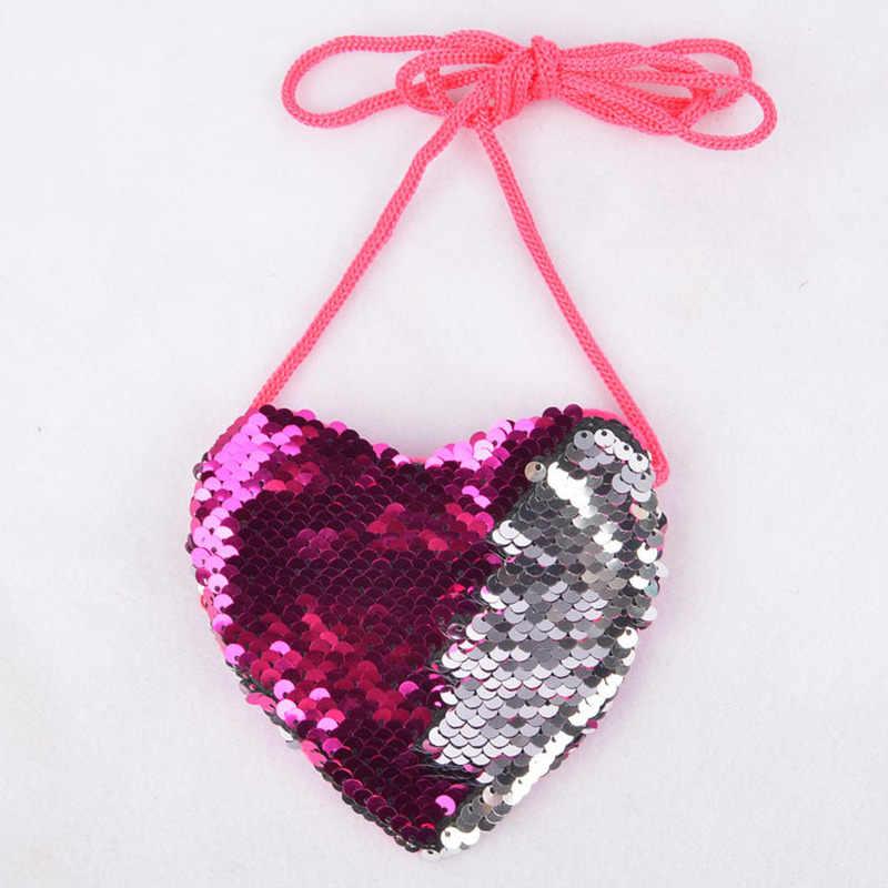 Bonito lantejoulas amor coração crianças bolsa de ombro moeda do bebê meninas mini mensageiro saco dos desenhos animados meninos pequena moeda bolsas