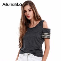 Ailunsnika Summer Knitted Women Tops Dark Gray Rivet T Shirt Female Pullover Off Shoulder Crochet Beading