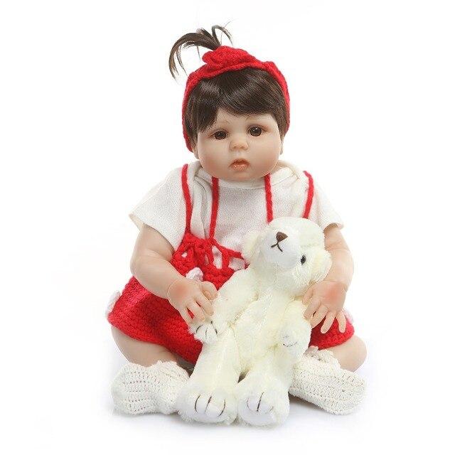 Reborn Dolls Full Silicone Body Newborn Girl Doll Baby Toy With Teddy Bear 2