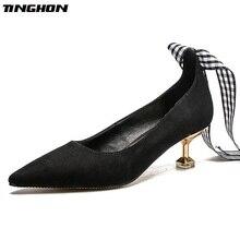 цена на TINGHON Sexy Women Grid High Heel Pumps Elegant Solid Pointed Toe Lace-up 5CM Thin Heel Slip-On Office Ladies Shoes