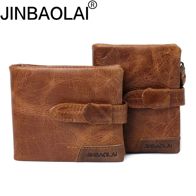 JINBAOLAI Brand Genuine Leather Men Wallets Zipper Coin Purse Short Men's Purse Male Card Holder Men Wallet Pocket Carteira