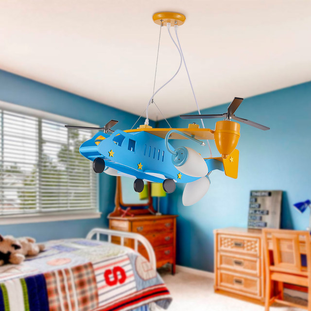 Children S Plane Pendant Lights Boys Room Cartoon Eyes Led Lighting Study Modern Lamps Ya7317