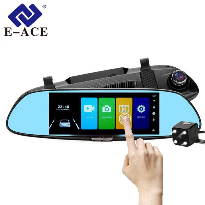E-ACE coche DVR Full HD 1080 P HD táctil IPS de 7,0 pulgadas grabadora de vídeo Cámara Dual lente con cámara de visión trasera auto registrador Dash Cam