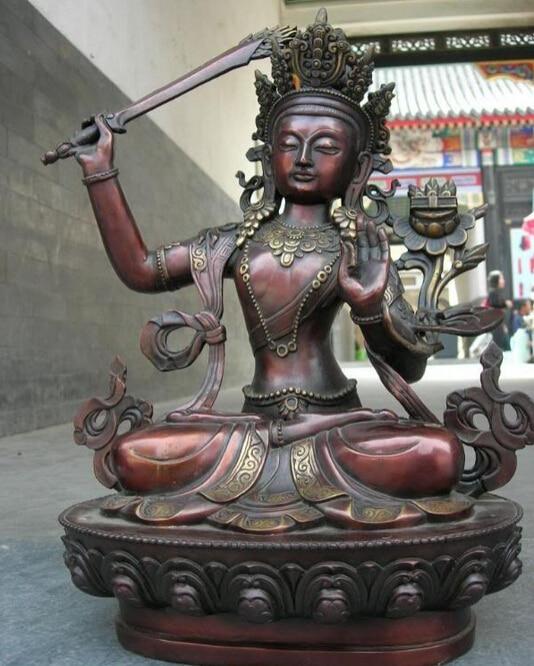 Fast Shipping USPS To USA S3598 Tibet Pure Red Bronze Manjusri Bodhisattva Kwan-Yin Buddha Statue