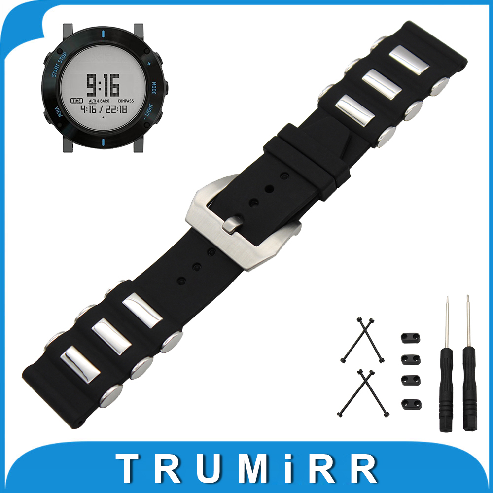 24mm Silicone Rubber Watch Band + Lug Adapter +Tool for Suunto Core Stainless Steel Pre-v Buckle Strap Wrist Belt Bracelet Black stainless steel watch band 24mm for suunto core safety clasp strap loop belt bracelet black rose gold silver tool lug adapter