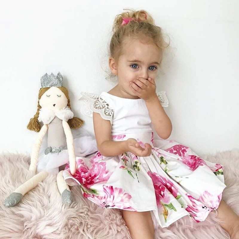 Hot 2Pcs Sets Baby Girls Newborn Infant Puff Sleeve Floral Dress + Lace Flower Headband floral print puff sleeve fit