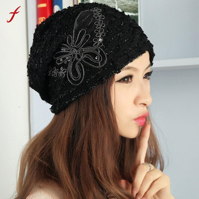 b329e260cac Bonnet Femme femmes chapeaux hiver chapeau dentelle papillon Beanie  casquette dame Skullies Turban chapeaux pour femmes