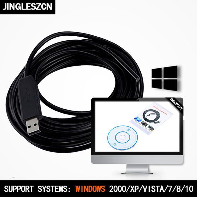 JINGLESZCN USB Endoscope Lens 10mm Mini Camera 5m Length Waterproof IP67 PC Borescope Inspection Snake Video Cam Vision Windows