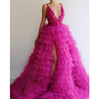 Fuchsia Tiered Prom Gowns Formal Dresses With Deep V Neck Ruffles Tulle Red Carpet Celebrity Evening Party Dress Sexy Side Split