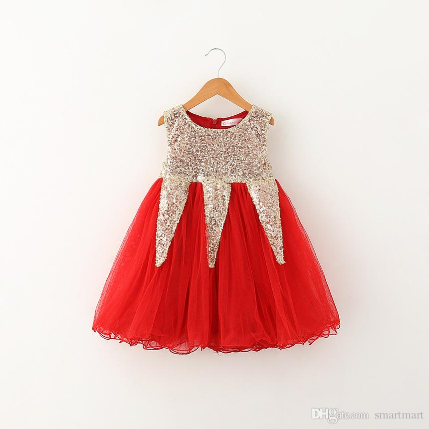 Sweet Babies Girls Tutu Lace Sequins Dresses Party Dress Sleeveless Gold Red and Pink Color Western Fashion Casual Dress
