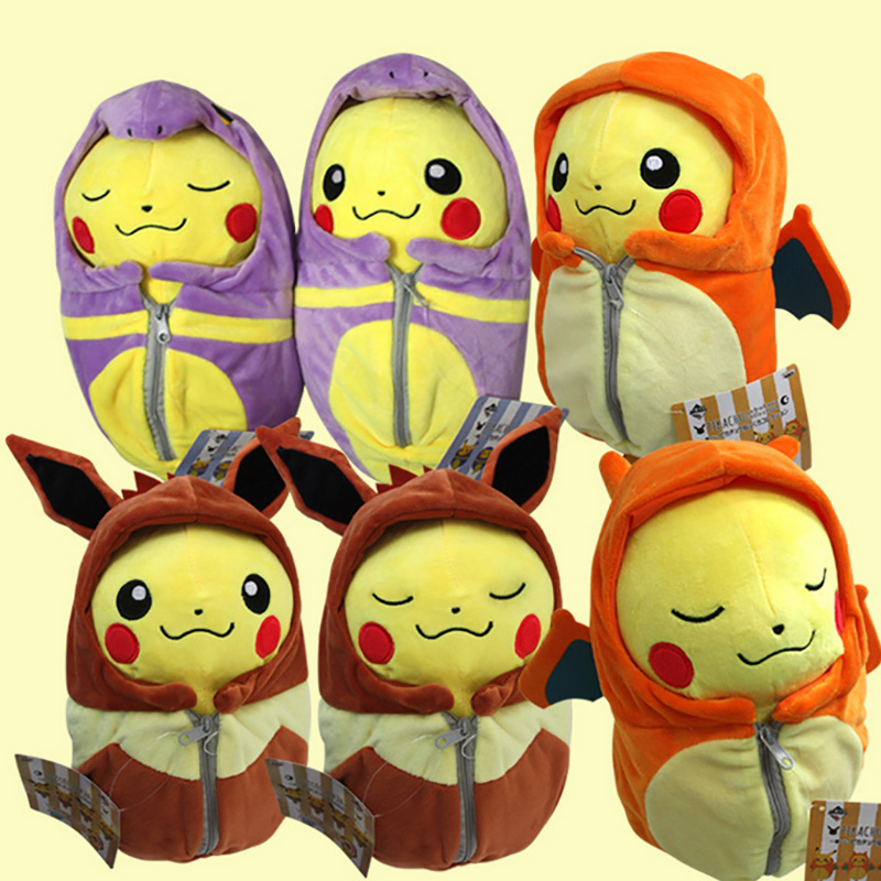 Sleeping Bag Pikachu Animal Dolls, 25 CM Cute Baby Plush Toys,Children Pocket Plush Toys Send Kids As Gift With Free Shipping 1pc 16cm mini kawaii animal plush toy cute rabbit owl raccoon panda chicken dolls with foam partical kids gift wedding dolls