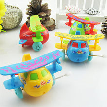 Clockwork Spring Toys For Children Best Gifts Cartoon Plastic Airplane Model Wind Up Toys Baby Kids Clockwork Toys Running(China)