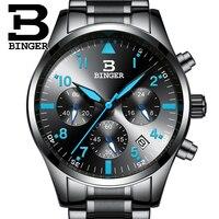 Relogio masculino BINGER 시계 남성 비즈니스 크로노 그래프 날짜 빛나는 손목 시계 Mens Luxury Brand Steel Quartz Watch