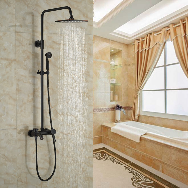 Bath Single Lever With Hand Shower Bath Rainfall Shower Faucet Oil Rubbed Bronze Finish Tub Set