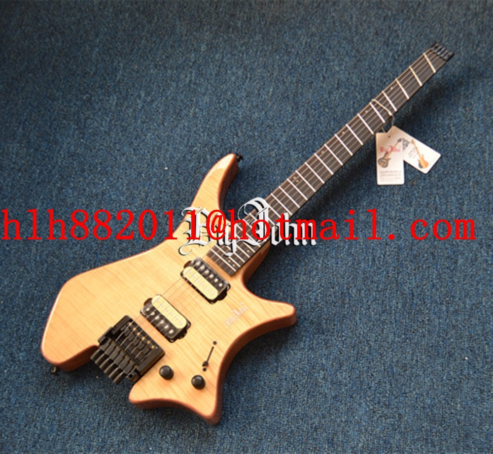free shipping new Big John fanned headless electric guitar with sticking tiger stripes mahogany body  in natural   F-3375 new unfinished electric guitar body with sticking tiger stripes not painted free shipping foam box