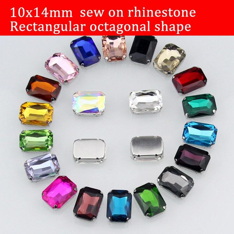 10x14mm 20pcs שרף זכוכית יהלום מלבן rhinestone לתפור על אבנים עם טופר DIY אביזרים בגד