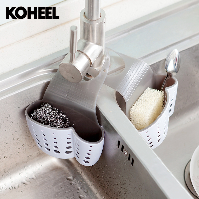 Kitchen Drain Tank Basket Strainers Thickened Double Trough Hanging Basket Plastic Storage Drain Basket Storage Rack K9 sucked hanging laundry hamper dirty clothes storage basket