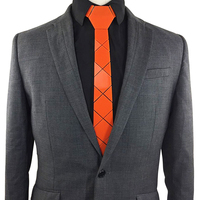 GEOMETIE Handmade Geometric Diamond Plaid Neck Ties Fashion Orange Wedding Accessories Necktie Costume Halloween Pumpkin Ties