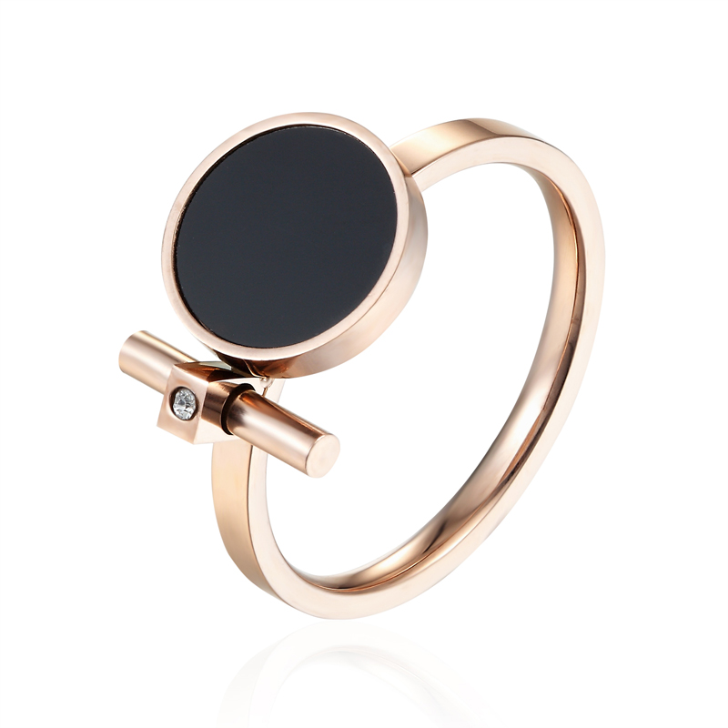 Hot Fashion Luxury Jewelry Ring Exquisite Beauty Black Enamel And Zircon Stainless Steel Rose Gold Color Brand Ring For Women image