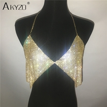 Sparkly Rhinestone Metal Halter Chain Camis Tops Women Sexy Luxury Hollow Out Party Nightclub Crop Top Gold Silver