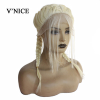 V'NICE Blonde Braided Wigs With Baby Hair Heat Resistant Synthetic Lace Front Wigs for White Women 2x Twist Braids Wig