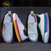 RY relaa fashion white shoes female 2019 summer new wild flat bottom breathable foreign gas leather rainbow small white shoes