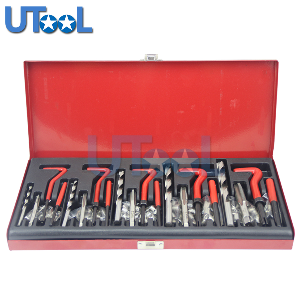 UTOOL 131pcs Damaged Thread Repair Tool Set Twist Drills Kit M5 M6 M8 M10 M12 m10 1 5 professional thread repair rethread kit restoring damaged threads