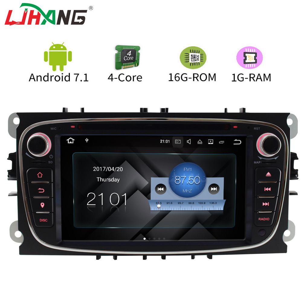LJHANG Android 7.1 2 Din Car DVD Player for FORD FOCUS 2 Mondeo S-MAX C-MAX Galaxy Built-in WIFI GPS Radio Multimedia 1024*600