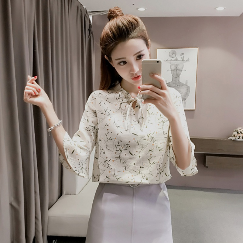Search For Flights Fashion Long Sleeve Printed Lady Turn-down Collar Shirt With Butterfly-knot Office Lady Chiffon Blouse Spring 2019 Women Tops Low Price Blouses & Shirts