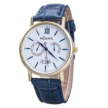 HUANS Males Rome digital Article Leather-based Band Quartz Wrist Watches Blue Band+Gold Dial