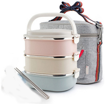 3 Layers 304 Stainless Steel Japanese Box Food Fruit Container Storage For Adults Children Lunch food Box Portable Thermal Bag
