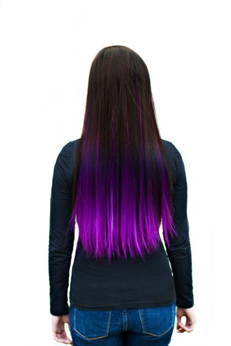 Kisspat Purple Dip Dyed Ombre Hair Extension Clip In Hair Accessory