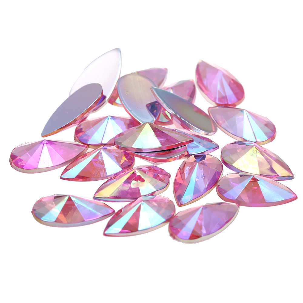 8x13mm 2000pcs Drop Shape Pointed Flatback AB Colors Acrylic Rhinestone Strass High Shine Nail Art Decorations