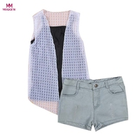 Fashion Cool Kids Baby Girls Outfit Clothes Lace Cardigan Vest Crop Top Shirt Short Pants Summer