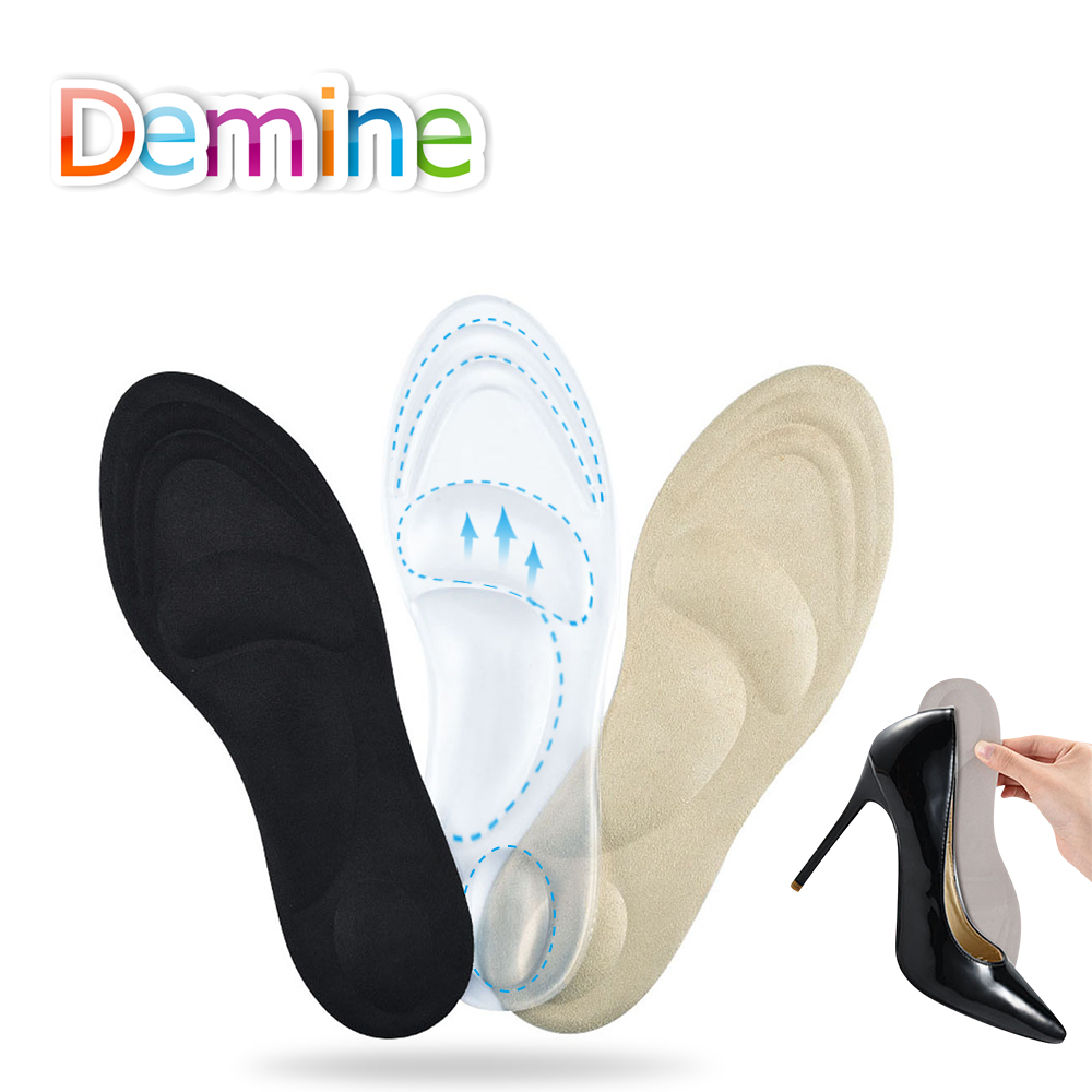 Demine 3D Silicone Gel Orthotic Insoles for Flat Feet Arch Support Massage Plantillas Fascitis Shoes Pad Foot Pain Relief Insole 4pcs silicone gel orthotic arch pad arch support insole flat foot relieve pain orthopedics insert 88 lxx9