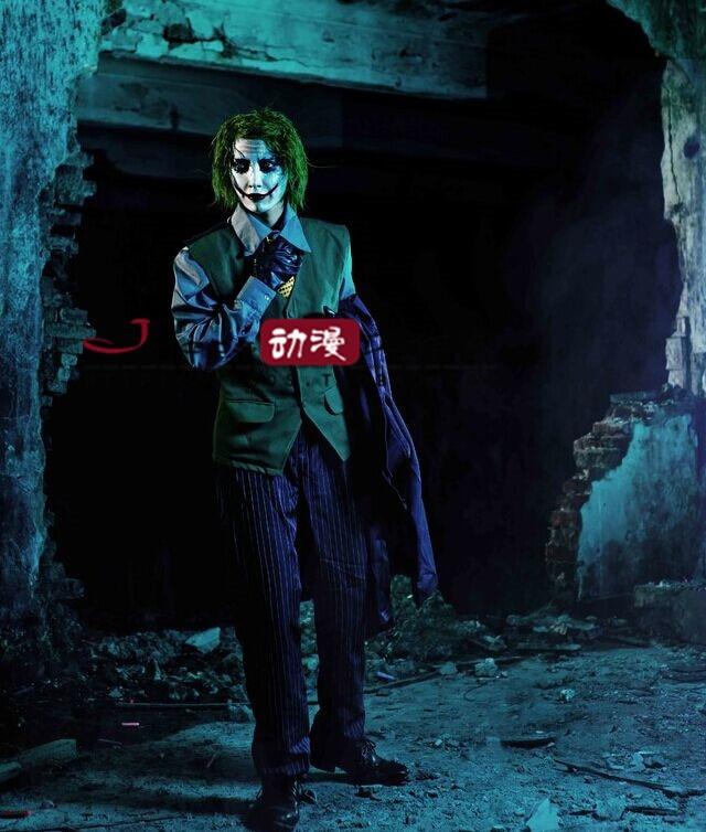 Индивидуальные взрослых Бэтмен Темная ночь Джокер костюм парик Полный комплект одежды Хэллоуин Косплэй