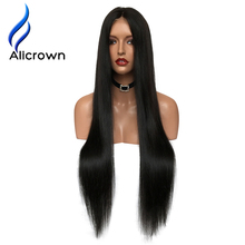 Alicrown Lace Front Human Hair Wigs For Black Women Straight Brazilian Remy Hair10-24″Pre Plucked Natural Hairline Free Shipping