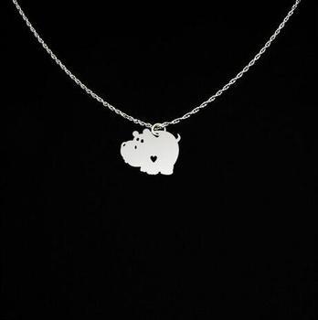 37dfc53e6cb8 Encantadora hipopótamo encanto cobre hipopótamo joyería personalizada nombre  o letras collar mejor regalo para amigo YP4097